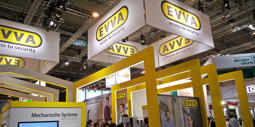 Sponsorship by EVVA dominated the west entrance. The locking systems manufacturer, which celebrates its 100th anniversary next year, boasted significant floorspace