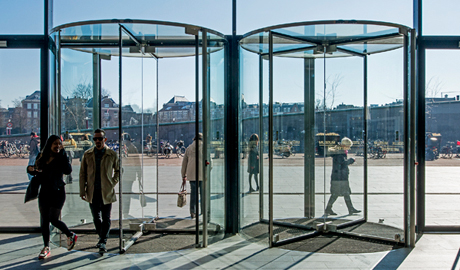 Today manual revolving doors typically include a speed control device in their canopy & Revolving door safety and security features | Security news ...
