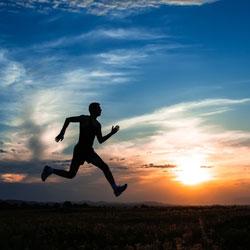 Running man in a field