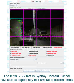 The initial VSD test in Sydney Harbour Tunnel revealed exceptionally fast smoke detection times