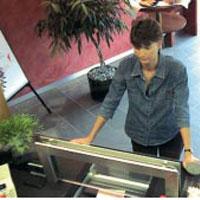 Woman using a bank