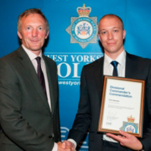 Chris was nominated following an incident where an intruder alarm was activated at the Conference Auditorium at the University