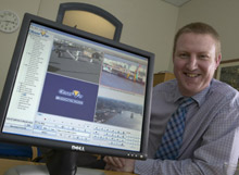 Pictured is Gareth Cutts, IT Manager for ABP with NetVu ObserVer software from Dedicated Micros