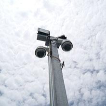 Siqura dome cameras on pole mount
