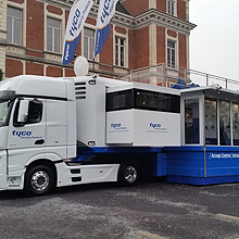 Tyco Security Products' Mobile Exhibition Unit is a state of the art mobile classroom and training centre that houses the company's full portfolio of security solutions