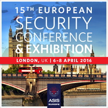 Key topics being addressed include Terrorism Outlook for Europe, Insider Threat, Cybersecurity, Business Value of Security, IoT, and Security Technology and Solutions