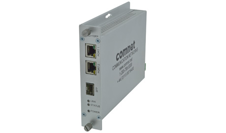 This media converter features two TX input ports and a single SFP port