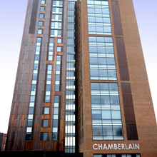 Chamberlain, based in Edgbaston, is a brand new student accommodation development  comprised of a 21-storey tower and three low-rise blocks