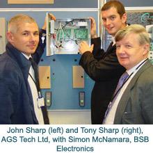 John Sharp and Tony Sharp from AGS Tech Ltd with Simon McNamara from BSB Electronics