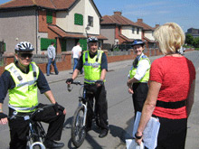 Grangetown community wardens speak with local residents