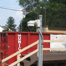 Two Arecont Vision MegaDome and one Arecont Vision SurroundVideo offer a comprehensive view of the waste centre yard