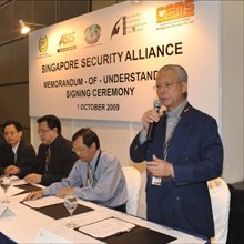 Edward Liu, Managing Director of Conference & Exhibition Management Services Pte Ltd (CEMS) gives his address at the Safety & Security Asia 2009