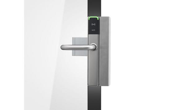 SALTO's XS4 One Deadlatch brings electronic access control to commercial aluminum-framed glass doors