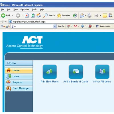 ACTWeb, web based interface for ACTpro access control software