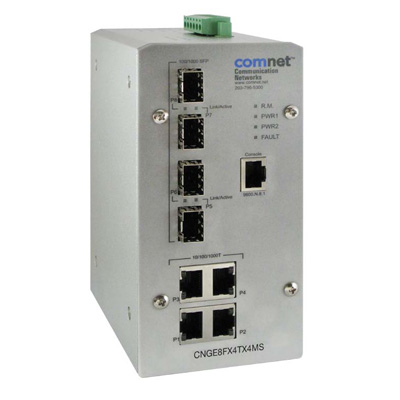 ComNet CNGE8FX4TX4MS environmentally hardened managed Ethernet switch