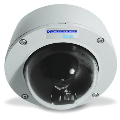 Dedicated Micros DM/ICEVC-OHYPER HyperDome camera with outdoor surface mount and WDR