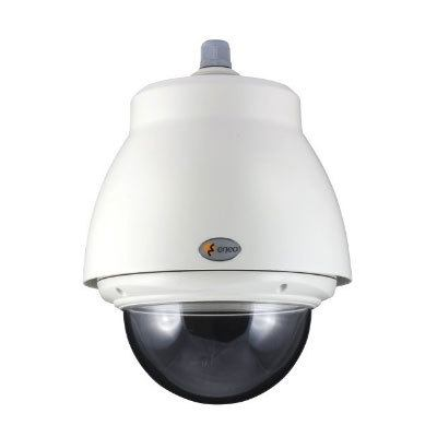 """eneo EDC-OPS-2/24V Pendant Mount Outdoor Dome Housing with Sunshield, Tinted Bubble 6.5"""", 24VAC"""