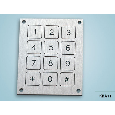 Vandal proof metal 3x 4 keypads Piezoelectric keypad from Baran Advanced Technologies