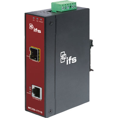 IFS MC250-1T/1S Fast Ethernet to SFP Industrial Media Converter