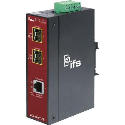 IFS MC350-1T-2S gigabit ethernet to 2-port SFP industrial media converter