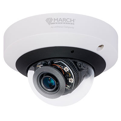 March Networks ME4 IR MicDome 4MP dome camera with HDR, IR, and built-in microphone