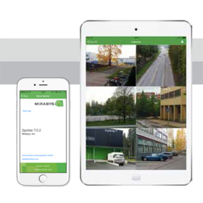 Mirasys Spotter Mobile remote access to video surveillance footage via various mobile devices