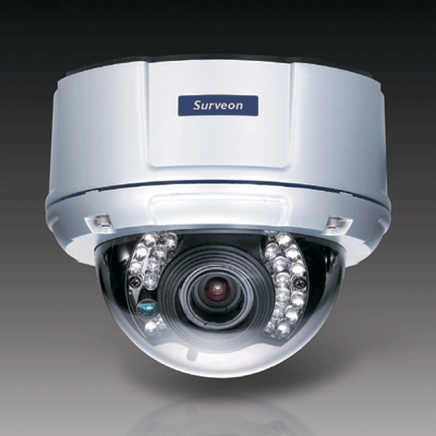 Surveon CAM4260 dome camera with IP66 vandal proof protection for outdoor applications