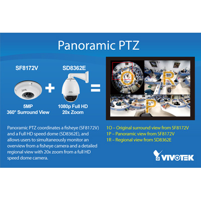 Vivotek Panoramic PTZ 360 degree surveillance solution compatible with VIVOTEK megapixel and dome camea