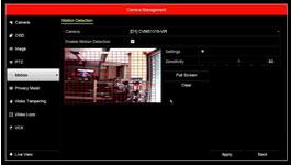 Vanderbilt Eventys EX motion detection configuration